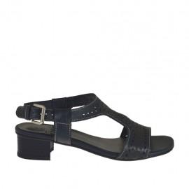 Sandalo da donna in pelle forata blu scuro tacco 3 - Misure disponibili: 32, 42, 43, 44, 45