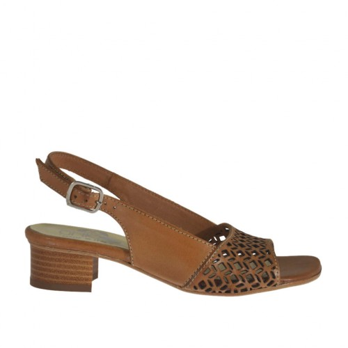 Woman's sandal in pierced tan brown leather heel 3 - Available sizes:  32