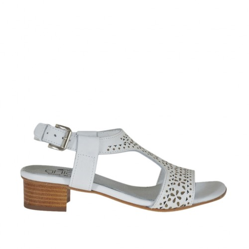 Woman's sandal in white pierced leather heel 3 - Available sizes:  43