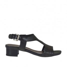 Sandalo da donna in pelle traforata nera tacco 3 - Misure disponibili: 32, 42, 45