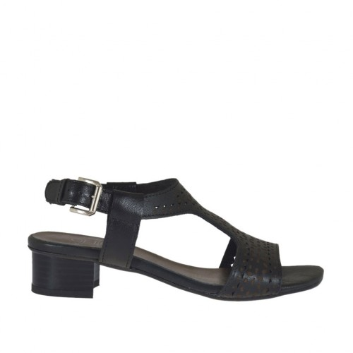Woman's sandal in pierced black leather heel 3 - Available sizes:  32