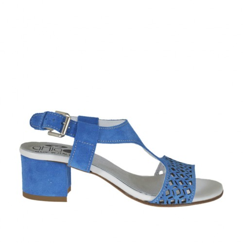 Woman's sandal in blue pierced suede heel 4 - Available sizes:  32, 42, 44