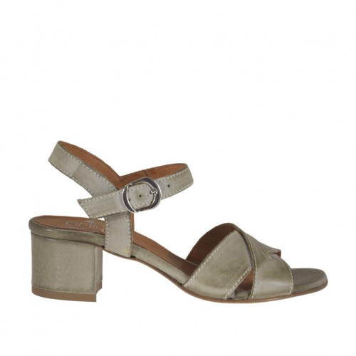 Woman's strap sandal in taupe leather heel 4 - Available sizes:  44