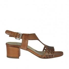 Sandalo da donna in pelle forata cuoio tacco 4 - Misure disponibili: 32