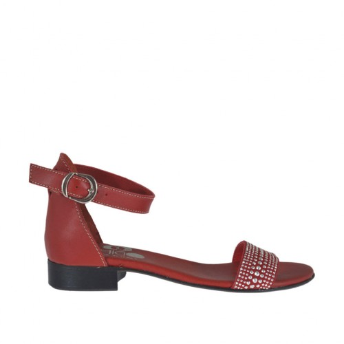 Woman's open shoe in red leather with strap and rhinestones heel 2 - Available sizes:  33, 42