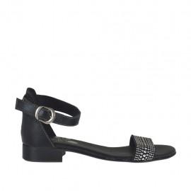 Scarpa aperta da donna in pelle nera con cinturino e strass tacco 2 - Misure disponibili: 32