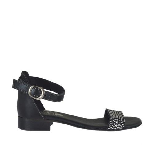 Chaussure ouvert pour femmes en cuir noir avec courroie et strass talon 2 - Pointures disponibles:  32, 34, 45