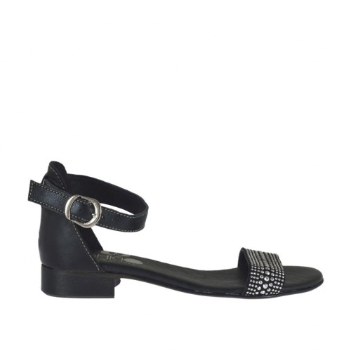 Woman's open shoe in black leather with strap and rhinestones heel 2 - Available sizes:  32, 34, 42, 43, 44, 45