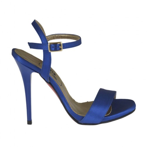 Woman's platform sandal with anklestrap in blue satin heel 10 - Available sizes:  31, 45, 46