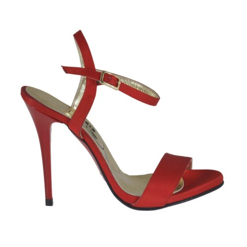 Woman's platform sandal with anklestrap in red satin heel 10 - Available sizes:  31, 42, 45, 46
