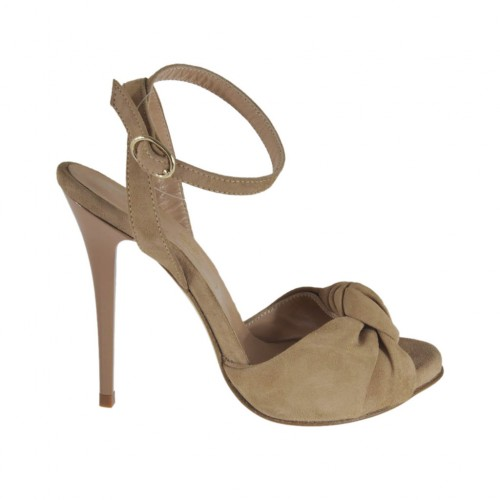 Woman's platform sandal with anklestrap in beige suede heel 10 - Available sizes:  32
