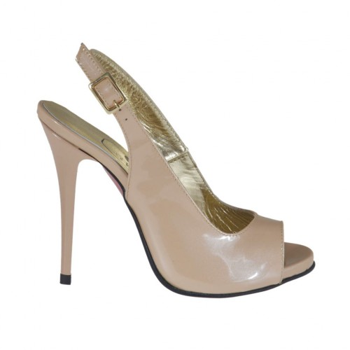 Sandale pour femmes avec plateforme en cuir verni rose poudre talon 10 - Pointures disponibles:  31, 34, 44, 46, 47