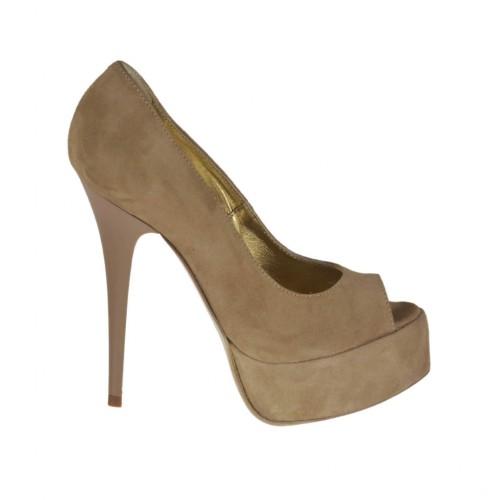 Woman's open toe platform pump in beige suede heel 13 - Available sizes:  31, 32, 42, 46