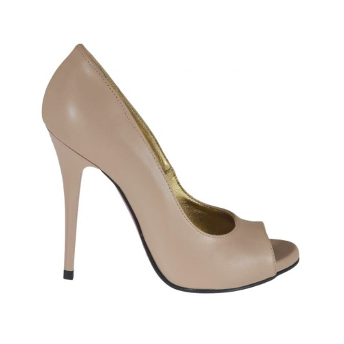 Woman's open toe pump with platform in powder rose leather heel 10 - Available sizes:  31, 42, 45, 46, 47