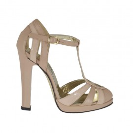 Woman's open shoe with t-strap and platform in powder rose leather and patent leather heel 10 - Available sizes:  31, 47
