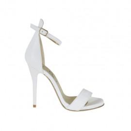 Escarpin à bout ouvert avec courroie pour femmes en cuir blanc avec plateforme et talon 10 - Pointures disponibles:  32, 44, 46, 47