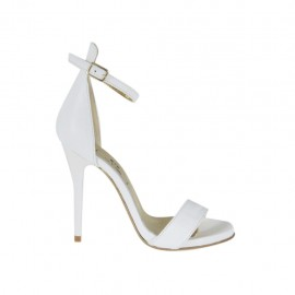 Woman's open strap shoe in white leather with platform and heel 10 - Available sizes:  32, 44, 46, 47