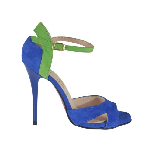 Woman's open shoe with strap and platform in cornflower blue and green suede heel 10 - Available sizes:  31, 32