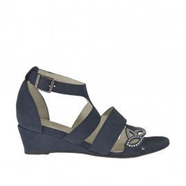 Woman's open strap shoe with rhinestones in blue nubuck leather wedge heel 3 - Available sizes:  33, 42, 43, 45, 46