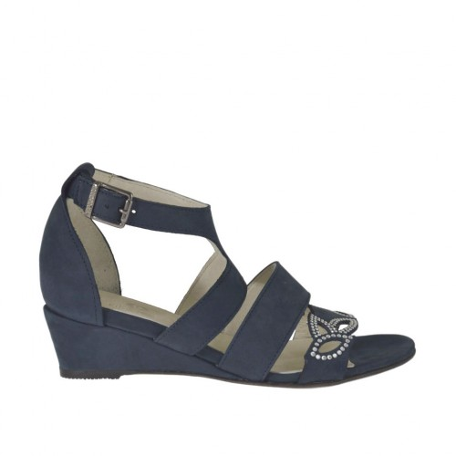 Woman's open strap shoe with rhinestones in blue nubuck leather wedge heel 3 - Available sizes:  42