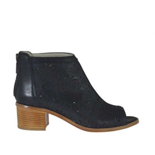 Woman's opentoe highfronted shoe with zipper in black pierced leather heel 5 - Available sizes:  42, 43, 44, 46