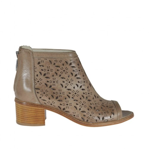 Woman's opentoe highfronted shoe with zipper in taupe pierced leather heel 5 - Available sizes:  42, 44