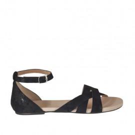 Zapato abierto con cinturon para mujer en gamuza imprimida negra tacon 1 - Tallas disponibles:  44, 45