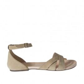 Zapato abierto con cinturon para mujer en gamuza beis tacon 1 - Tallas disponibles:  42, 44