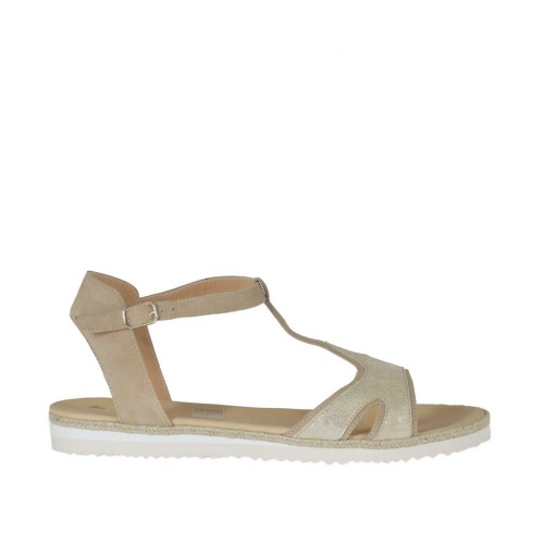 Woman's strap sandal in beige suede and platinum laminated printed leather wedge heel 2 - Available sizes:  43, 44, 45, 46
