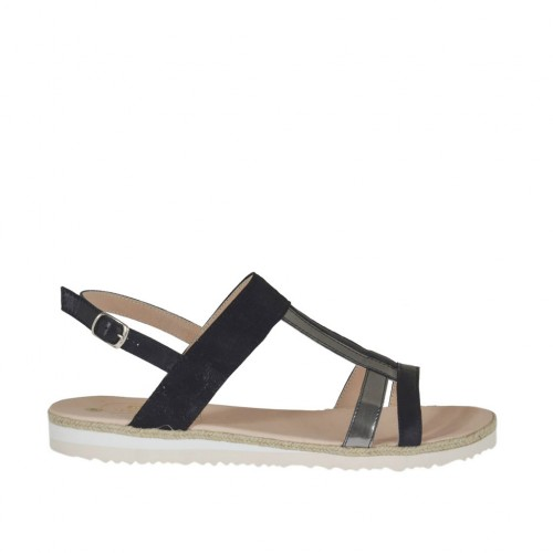 Woman's sandal in black leather and printed suede and grey laminated leather wedge heel 2 - Available sizes:  42, 43, 44, 45, 46