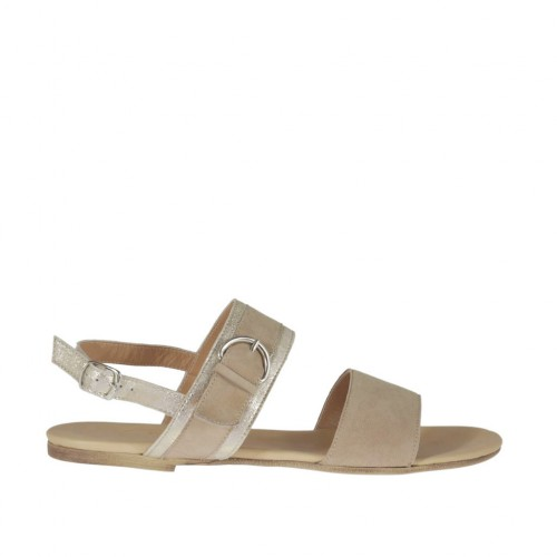 Woman's sandal with buckle in taupe suede and platinum laminated printed leather heel 1 - Available sizes:  42, 43, 44, 45