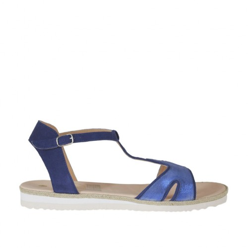 Woman's strap sandal in blue suede and laminated printed leather wedge heel 2 - Available sizes:  46