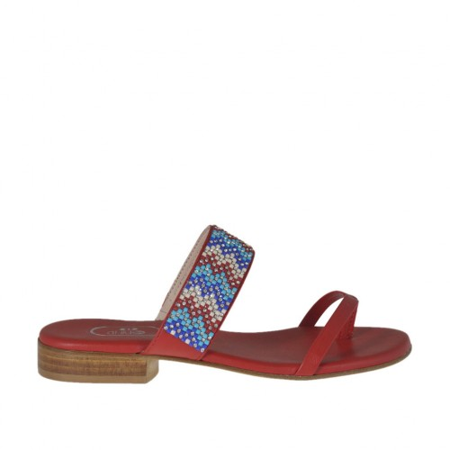 Woman's red open flip-flop mules with multicolored rhinestones heel 2 - Available sizes:  33, 34, 42, 43