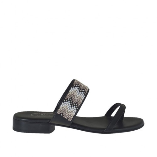 Woman's black open flip-flop mules with multicolored rhinestones heel 2 - Available sizes:  42