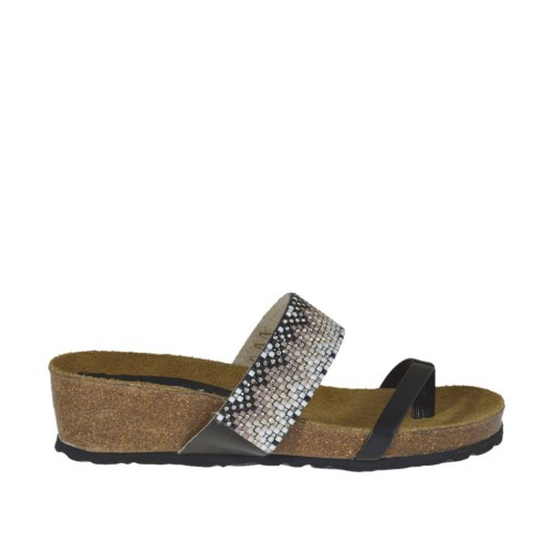 Woman's black open flip-flop mules with multicolored rhinestones wedge heel 4 - Available sizes:  43