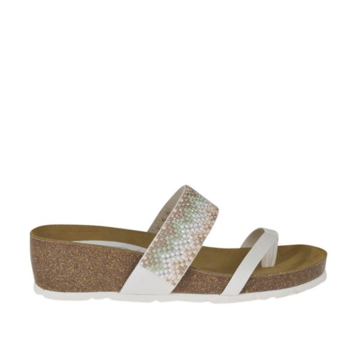 Woman's white open flip-flop mules with multicolored rhinestones wedge heel 4 - Available sizes:  42