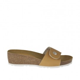 Woman's beige open mules with button and velcro wedge heel 4 - Available sizes:  42