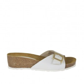 Woman's white open mules with buckle wedge heel 4 - Available sizes:  42, 43, 44, 46