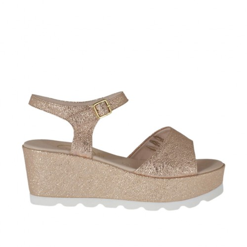 Woman's copper strap sandal with rock-like texture, platform and wedge 6 - Available sizes:  32, 33, 34, 42, 43, 44, 46