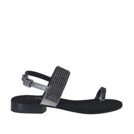 Woman's laminated gunmetal flip-flop sandal with rhinestones heel 2 - Available sizes:  32, 33, 34, 42, 43, 44, 45, 46