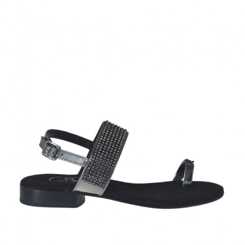 Woman's laminated gunmetal flip-flop sandal with rhinestones heel 2 - Available sizes:  32