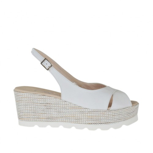 Woman's white sandal with platform and wedge 6 - Available sizes:  31, 34, 42, 43