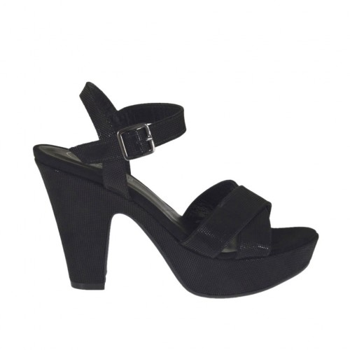 Woman's platform sandal in black printed suede with strap heel 9 - Available sizes:  32, 34