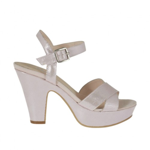 Woman's platform sandal in rose printed suede with strap heel 9 - Available sizes:  46