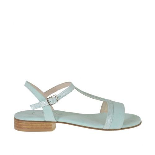 Sandale scintillant pour femmes avec courroie en daim bleu-vert talon 2 - Pointures disponibles:  32, 42