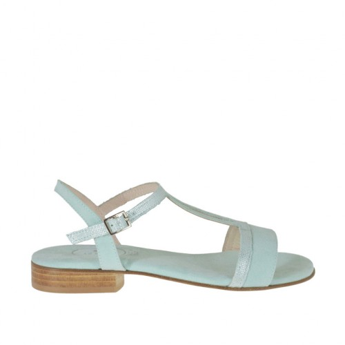 Woman's strap sandal in glittered and aquamarine suede heel 2 - Available sizes:  32, 42