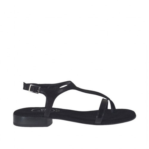 Woman's black glittered thong sandal heel 2 - Available sizes:  32, 43, 44, 46