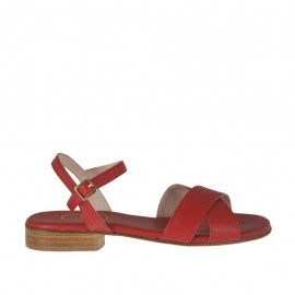 Woman's red strap sandal heel 2 - Available sizes:  33, 34, 42, 43, 44, 45, 46