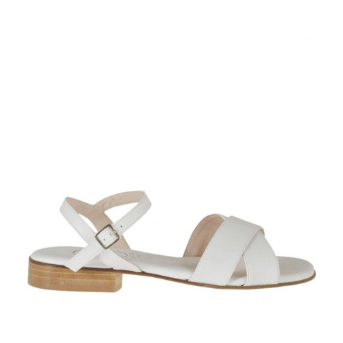 Woman's white strap sandal heel 2 - Available sizes:  32