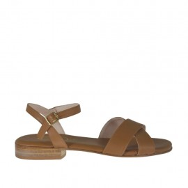 Sandalo color cuoio da donna con cinturino e tacco 2 - Misure disponibili: 32, 44, 46